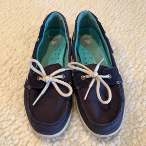 Crocs Loafers Oxfords Boat Shoes Navy Blue Womens